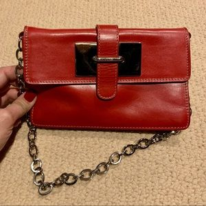 FURLA Red Leather Flap Clutch Bag Silver Chain